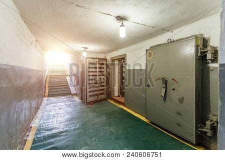 Hermetic Metal Armored Doors With Valves In  The Entrance Of Soviet Bomb Shelter Protective Construc