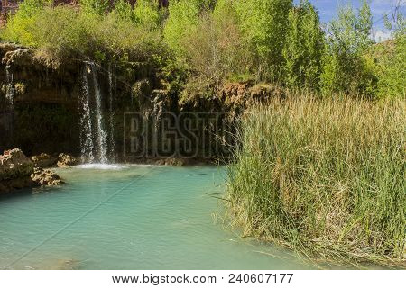 Lower Navajo Falls Falling Into An Opaque Blue-green Pool. This Waterfall Is On The Hike Into Havasu
