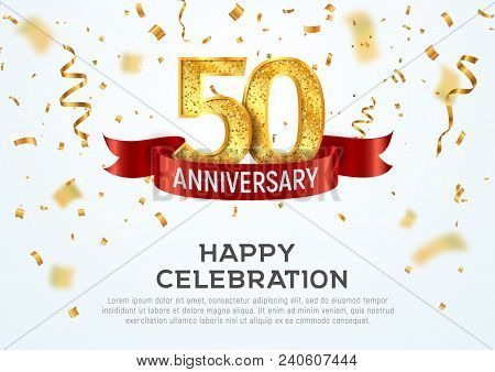 50 Years Anniversary Vector Banner Template. Fifty Year Jubilee With Red Ribbon And Confetti On Whit