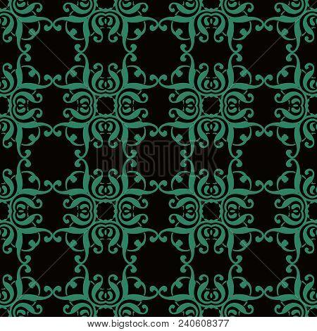 Antique Seamless Background Curve Square Spiral Curve Cross Frame Crest, Ideal For Wallpaper Decorat