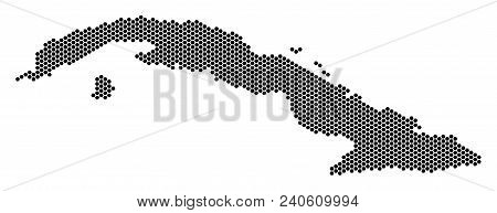 Hex Tile Cuba Map. Vector Geographic Plan On A White Background. Abstract Cuba Map Collage Is Formed