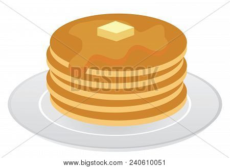 Vector Illustration Of Stack Of Pancakes With Maple Syrup And Piece Of Butter.