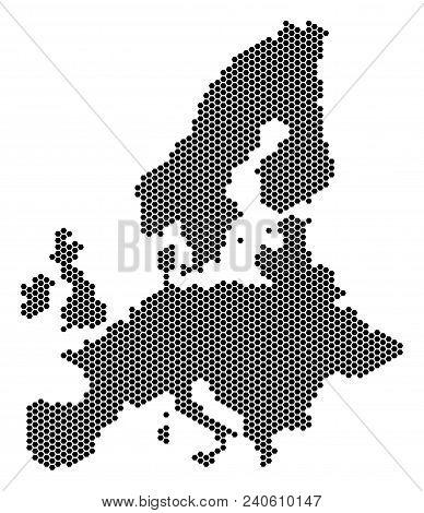 Hexagonal European Union Map. Vector Territory Plan On A White Background. Abstract European Union M