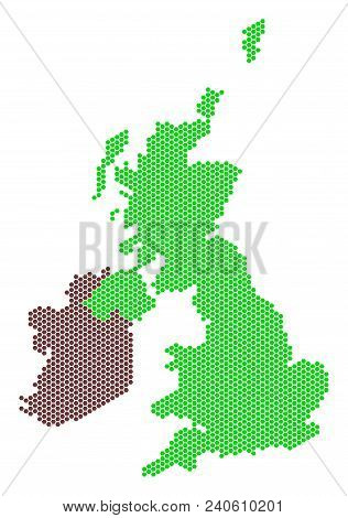 Hex Tile Great Britain And Ireland Map. Vector Territory Plan On A White Background. Abstract Great
