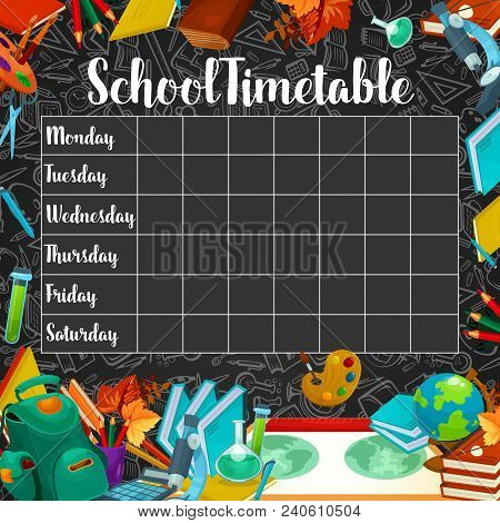 School Timetable Or Lesson Schedule Template On Chalkboard. Week Plan For Student And Pupil On Black