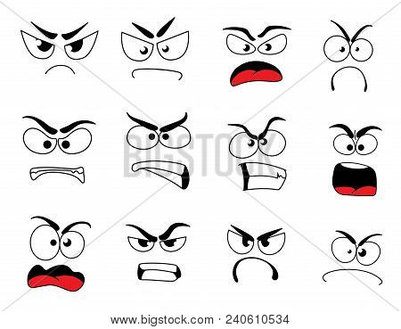 Angry Human Face With Negative Emotions Icon. Upset Emoticon With Grumpy, Evil And Mad Smile, Furiou