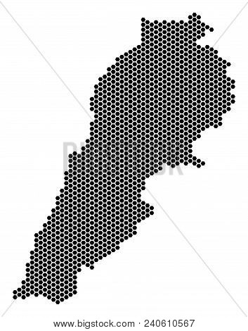 Hexagonal Lebanon Map. Vector Geographic Scheme On A White Background. Abstract Lebanon Map Composit