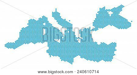 Hex-tile Mediterranean Sea Map. Vector Territorial Scheme On A White Background. Abstract Mediterran