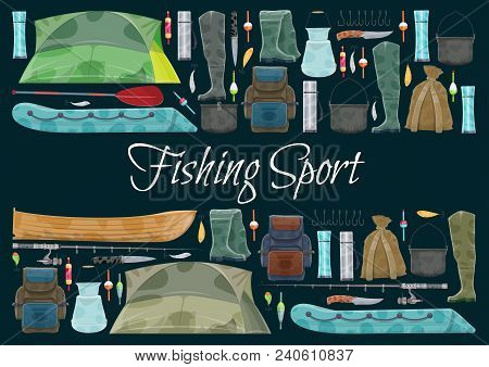 Fishing Sport Banner With Fishing Equipment Border. Fishing Rod, Hook And Bait, Fisherman Tackle, Re