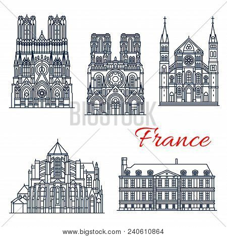 French Travel Landmark Of Roman Catholic Church Architecture Thin Line Icon Set. Abbey Of Saint-remi
