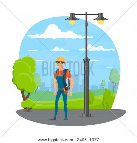 Lineman With Work Tool Cartoon Icon For Electrical Technician Profession Design. Utility Electrician