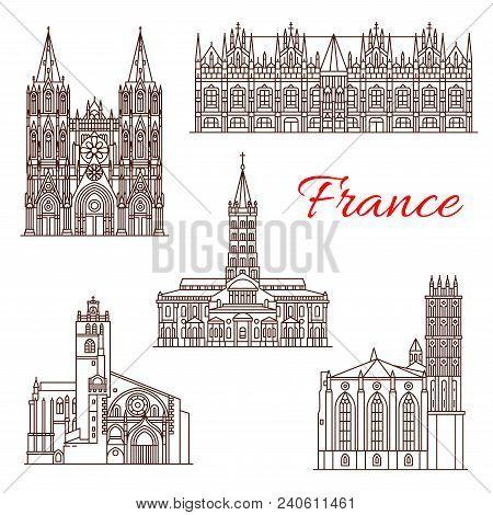 French Travel Landmark Icon Set With Linear Architecture Sight. Roman Catholic Basilica Of St Sernin