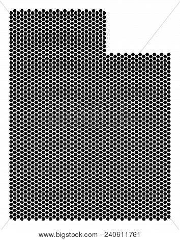 Hex-tile Utah State Map. Vector Territory Scheme On A White Background. Abstract Utah State Map Comp