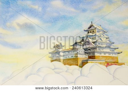 Osaka Castle On Cloud And The Main Tower Of The Unesco World Heritage Site: Himeji Castle, Also Call