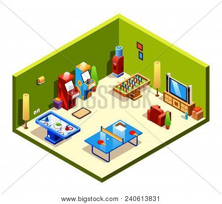 Vector Isometric Cross Section Recreation Room With Entertainment And Amusements - Table Tennis Or P