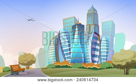 Cityscape Vector Cartoon Background. Panorama Of Modern City With High Skyscrapers And Park, Downtow