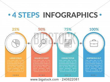 Infographic Template With Four Round Progress Indicators, Workflow, Process Chart, Vector Eps10 Illu