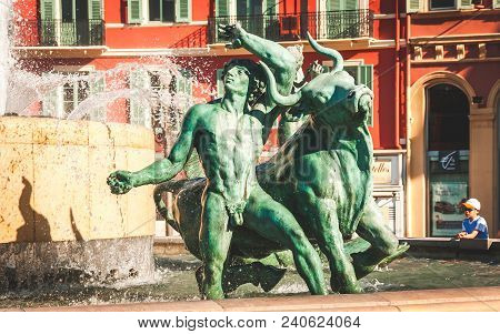 Nice, France - October 11, 2009: Bronze Sculpture Representing Saturn Of Sun Fountain Or Fontaine Du