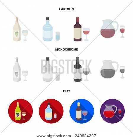White Wine, Red Wine, Gin, Sangria.alcohol Set Collection Icons In Cartoon, Flat, Monochrome Style V