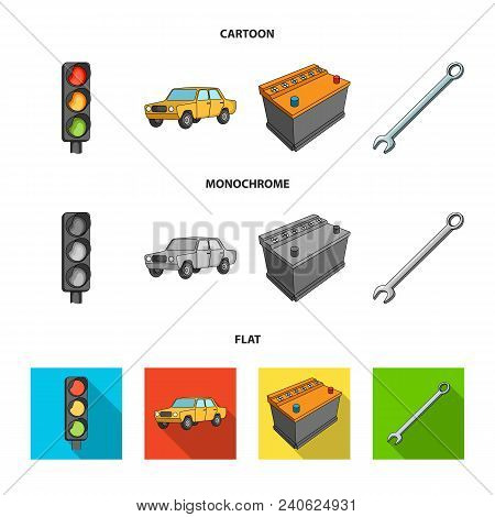 Traffic Light, Old Car, Battery, Wrench, Car Set Collection Icons In Cartoon, Flat, Monochrome Style