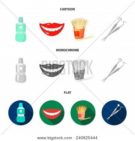 Dental Sterile Liquid In The Jar, Lips, Teeth, Toothpicks In The Jar, Medical Instruments For The De