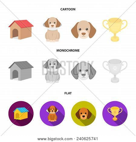 Dog House, Protective Collar, Dog Muzzle, Cup. Dog Set Collection Icons In Cartoon, Flat, Monochrome