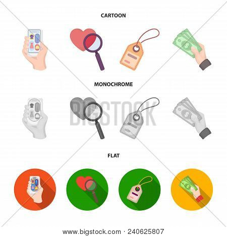 Hand, Mobile Phone, Online Store And Other Equipment. E Commerce Set Collection Icons In Cartoon, Fl