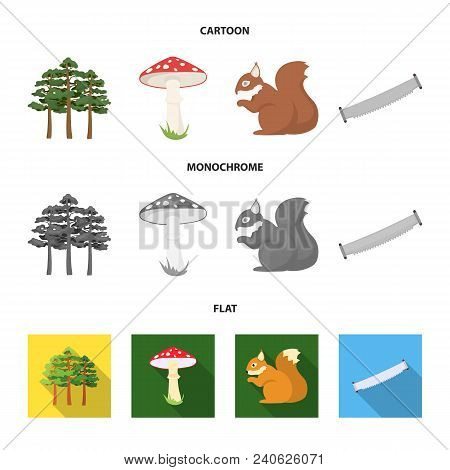Pine, Poisonous Mushroom, Tree, Squirrel, Saw.forest Set Collection Icons In Cartoon, Flat, Monochro