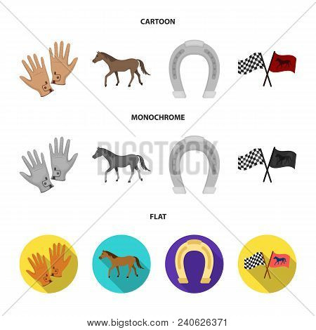 Race, Track, Horse, Animal .hippodrome And Horse Set Collection Icons In Cartoon, Flat, Monochrome S