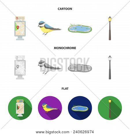 Territory Plan, Bird, Lake, Lighting Pole. Park Set Collection Icons In Cartoon, Flat, Monochrome St