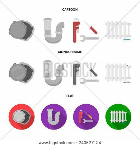 Sewage Hatch, Tool, Radiator.plumbing Set Collection Icons In Cartoon, Flat, Monochrome Style Vector