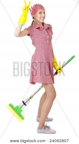 Funny charwoman with mop Isolated on white background poster