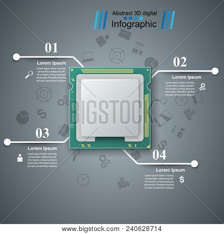 Computer Chip. Business Line Infographic Vector Eps 10