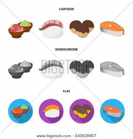 Wasabi Sauce And Ginger, Salmon Steak, Octopus. Sushi Set Collection Icons In Cartoon, Flat, Monochr