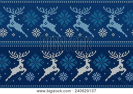Winter Holiday Seamless Knitting Pattern With Christmas Reindeer And Snowflakes. Wool Knitted Sweate