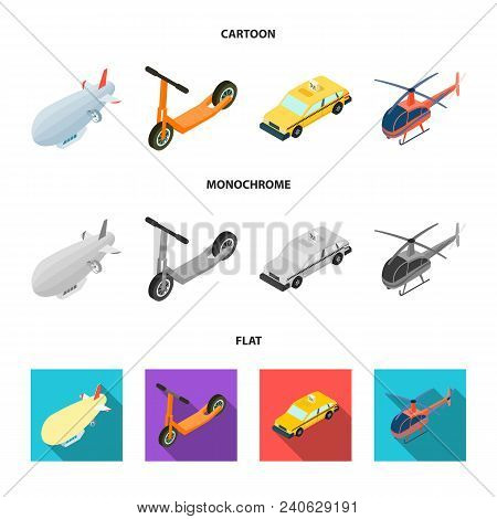 A Dirigible, A Children Scooter, A Taxi, A Helicopter.transport Set Collection Icons In Cartoon, Fla