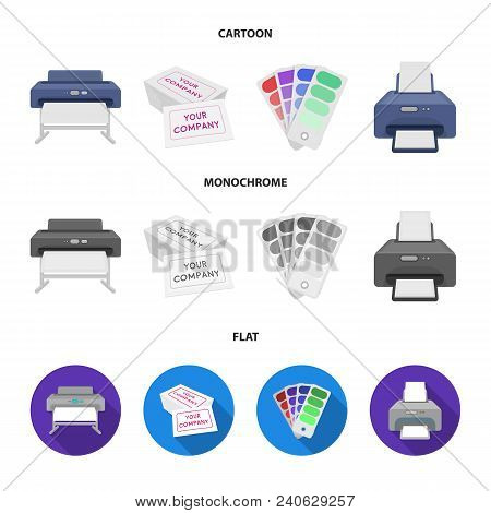 Printer, Credit Card, Color Palette.typography Set Collection Icons In Cartoon, Flat, Monochrome Sty