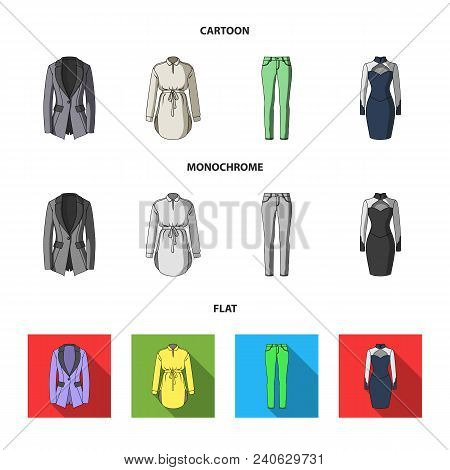 Women Clothing Cartoon, Flat, Monochrome Icons In Set Collection For Design.clothing Varieties And A