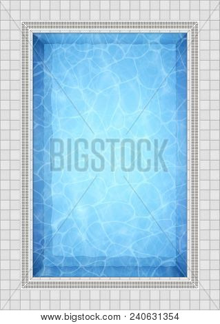 Summer Background. Swimming Pool Bottom Caustics Ripple And Flow With Waves Background. Overhead Vie