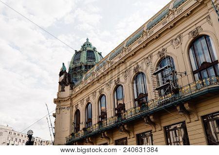 Municipal House Building In Prague Against Sky. Art Nouveau Style
