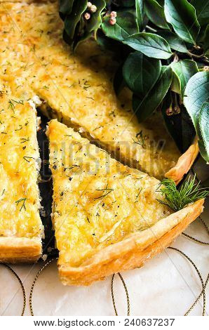 Short Crust Pastry Savory Pie Or Tart With White Cabbage, Chicken Meat, Apples And Parmesan Cheese S