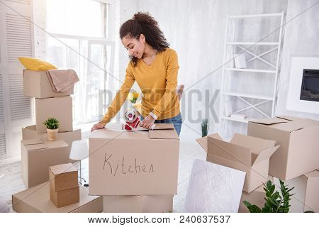 Final Preparations. Upbeat Curly-haired Girl Smiling Pleasantly And Taping The Box With Kitchen Uten
