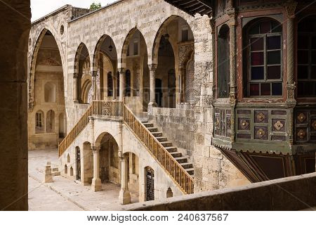 View On Entrence Of Emir Bachir Chahabi Palace Beit Ed-dine In Sunshine In Mount Lebanon Middle East
