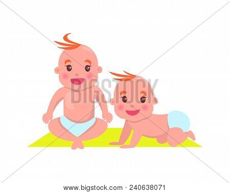 Children Sitting On Mat, Poster With Kid Crawling And Smiling And Child Wearing Diaper On Carpet, Ve