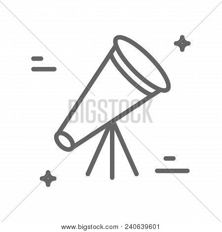 Telescope Logo Made In Trendy Line Stile Vector. Space Series. Space Exploration And Adventure Symbo