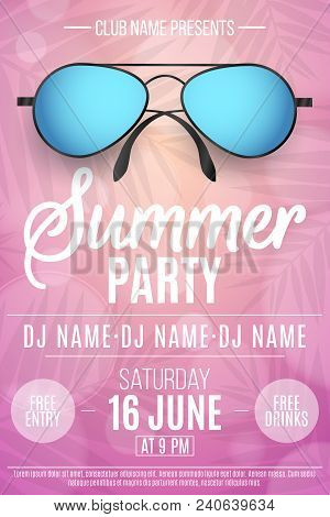 Poster For A Summer Party. Beach Sunglasses On A Pink Background With Palm Trees. Glares Bokeh. The