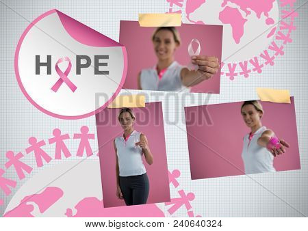 Hope text and Breast Cancer Awareness Photo Collage