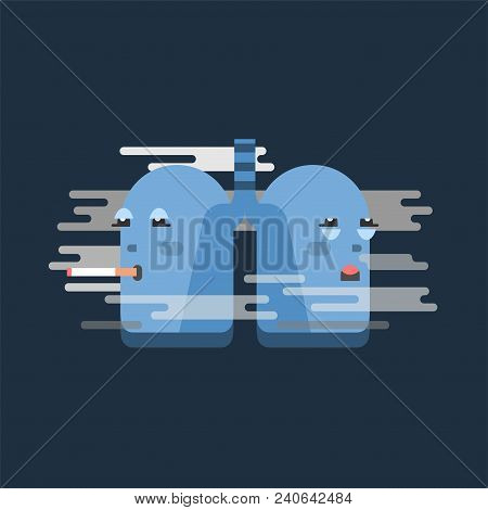 Smoking Lungs Character, Conceptual Vector Illustration With Unhealthy Lung In Smoke Cloud On Dark B