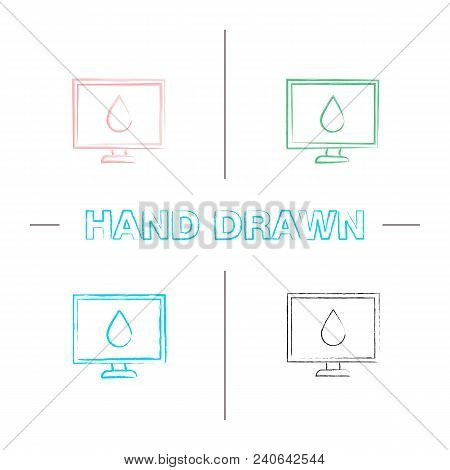 Computer Display Calibration Hand Drawn Icons Set. Control Of Color Printing Quality. Color Brush St