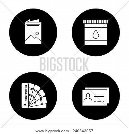 Printing Glyph Icons Set. Polygraphy And Typography. Brochure, Cartridge Ink, Color Palette Guide, B